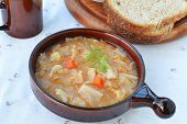 image of ceramic bowl  - Cabbage soup with vegetables in ceramic soup bowl - JPG