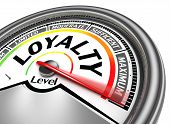 stock photo of loyalty  - loyalty level conceptual meter indicate hundred per cent isolated on white background - JPG
