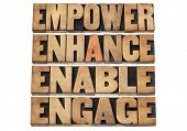 empower, enhance, enable and engage - motivational business concept - a collage of isolated words in