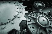 Heavy Industry Engineering Photo Background With Dark Green Tractor Gears