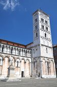 Majestic church of San Michele in Foro in town Lucca in Tuscany, Italy