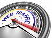 pic of indications  - web traffic conceptual meter indicate maximum isolated on white background - JPG