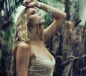 stock photo of jungle exotic  - Young sexy woman in jungle - JPG