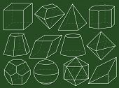 stock photo of octahedron  - Different 3d geometrical figures on green blackboard - JPG