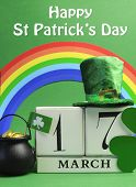 Save The Date White Block Calendar For St Patrick's Day, March 17, With Leprechaun Hat, Pot Of Gold,