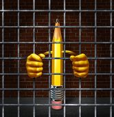 foto of delinquency  - Creative block creativity concept with a pencil character in a prison jail cell holding metal cage bars as a symbol of being stuck and lacking freedom of expression as a business symbol or icon for juvenile delinquent.
