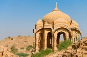 pic of jainism  - Chhatris on ruins of the royal cenotaphs of ancient Maharajas rulers in Bada Bagh also called Barabagh  - JPG