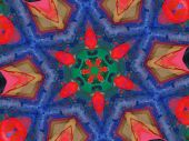 Primary Colors Red Green Soft Blue Spatter Paint Kaleidoscope poster