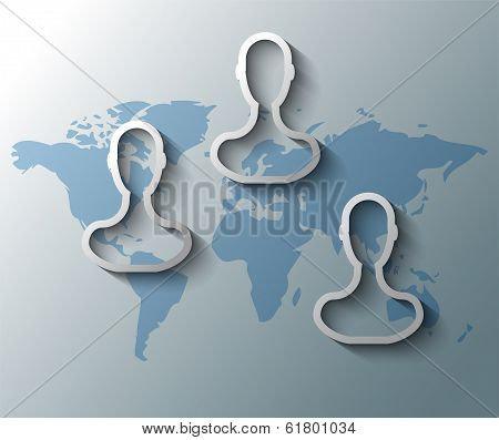 Illustration Of Group Friends With World Map