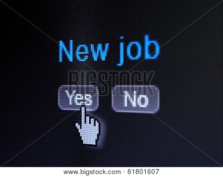 Finance concept: New Job on digital computer screen