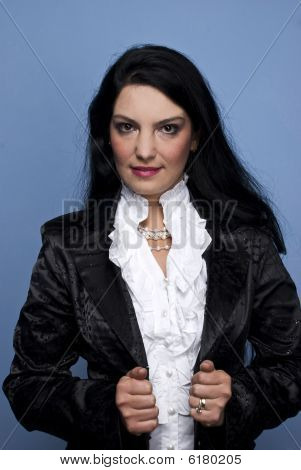 Modern Woman In Black Satin Jacket