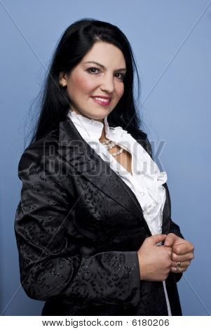 Woman In White And Black For Special Occasion