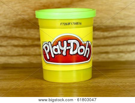 Plastic Container Of Green Play- Doh