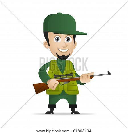 Concept cheerful hunter holds shotgun