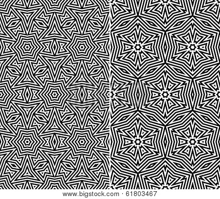 Set of Two Seamless Floral Patterns. Vector Illustration