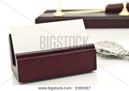 Close-up Of Card Holder With Blank White Business Card