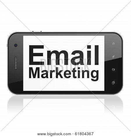 Finance concept: Email Marketing on smartphone