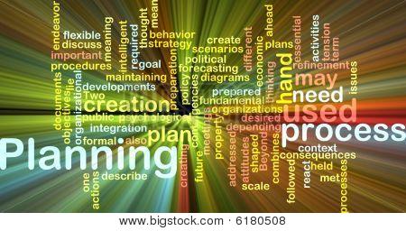 Planificación de la palabra nube brillante