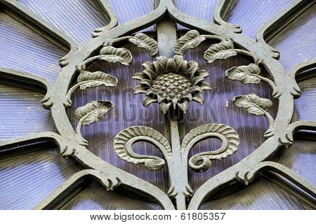 Detail Of Decorative Metalwork On Art Nouveau Building, Riga Latvia