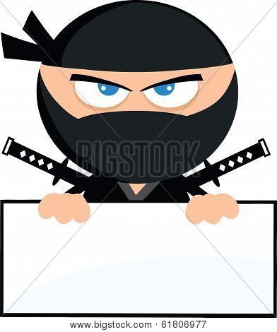 Angry Ninja Warrior Cartoon Character Over Blank Sign Flat Design