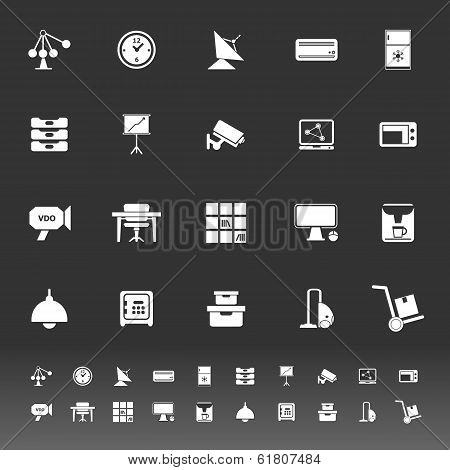 General Office Icons On Gray Background