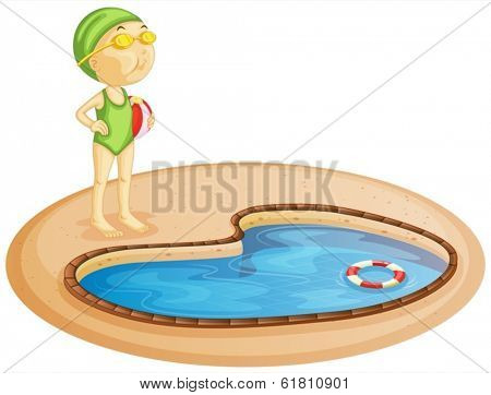 Illustration of a young girl in the pool on a white background
