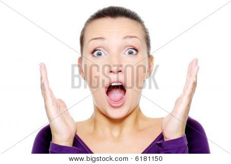 Young Screaming Woman With Hands Up