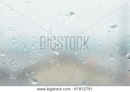 Window Glass With Water Vapor And Raindrop