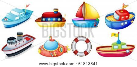 Illustration of the collection of toy boats on a white background