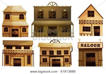 Illustration of the saloon bars in the West on a white background