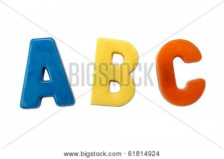 Letter magnets A B C isolated on white