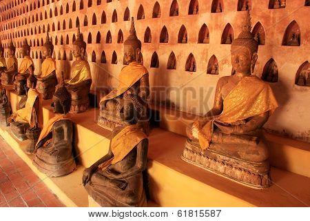 Buddha Statues In Wat Si Saket, Vientiane, Laos