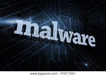The word malware against futuristic black and blue background