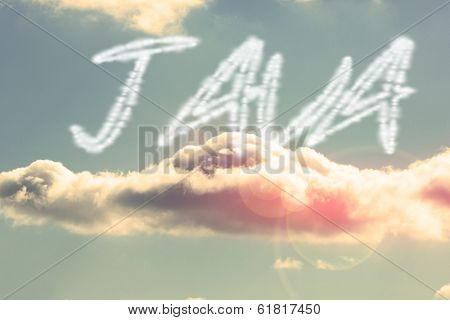 The word java against bright blue sky with cloud