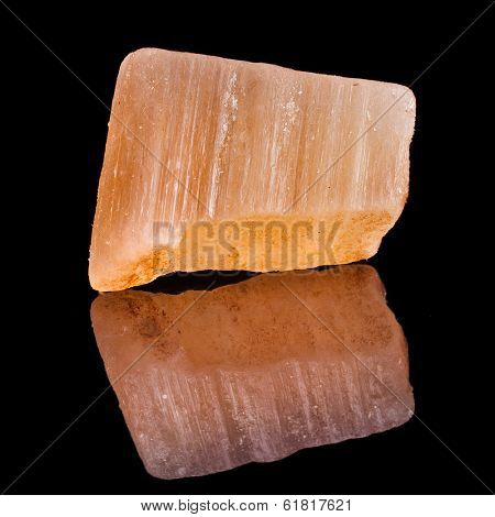 Red Gypsum  mineral isolated on black background