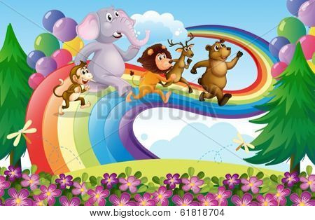Illustration of a group of animals at the rainbow