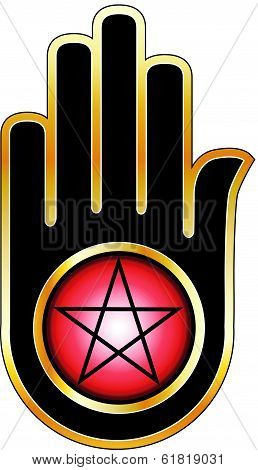 Ahimsa Hand With Pentacle