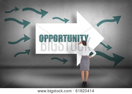 The word opportunity and businesswoman scratching her head against arrows pointing