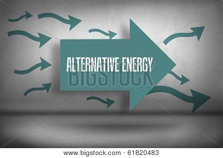 The word alternative energy against arrows pointing