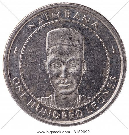 100 Sierra Leonean Leones Coin, Face, Isolated On White Background