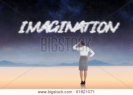 The word imagination and businesswoman scratching her head against serene landscape