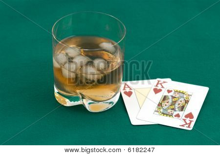 Cards And A Glass Of Whisky.