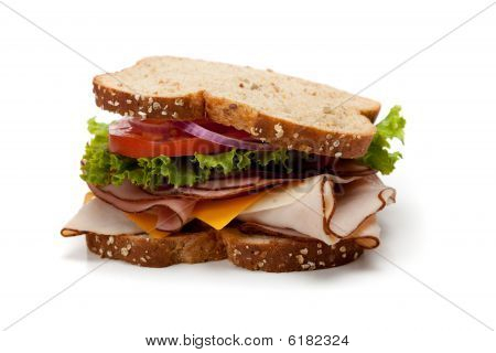 A Turkey Sandwich On Whole-grain Bread