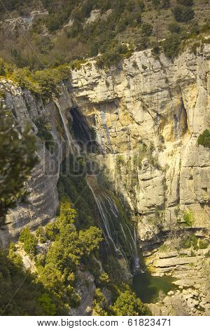 Sallent waterfall in the medieval town of Rupit (Girona, Spain)