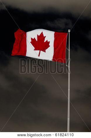 Canadian Flag Over Menacing Sky