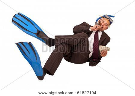 A Brazilian business man wearing a diving equipment laid on white background holding a cigar and dollar bills.