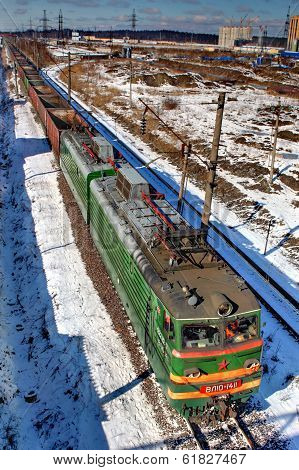 Train Freight Without Cargo, Travels By Rail.