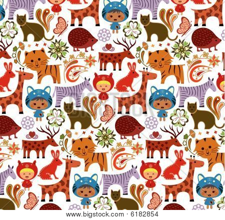 Abstract Child and Animals Pattern SEAMLESS