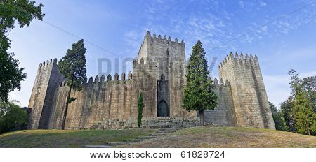 Guimaraes Castle, the most famous  castle in Portugal as it was the birth place of the first Portuguese King and the Portuguese nation. Unesco World Heritage Site.