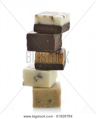 Stack Of Pieces Of Chocolate Fudge